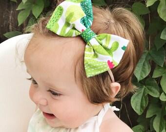 Cactus Bow : baby bow nylon headband, cactus baby headband, cactus baby bow, cactus headband