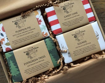 Holiday Soap Gift Box - Christmas Soap Gift Box - Holiday Soap Gift Set - Natural Soap Gift Set - Soap in Box - Goat Milk Soap Set