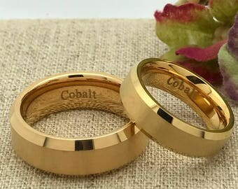 His and Hers Wedding Ring Set, Personalized Custom Engraved Gold Plated Cobalt Ring, Wedding Rings, Promise Ring, Couples Ring