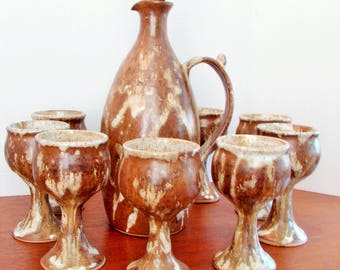 1970's Canadian Pottery Brown & Creme Glaze Wine Decanter Set, Pottery Decanter And 8 Pottery Glasses, Hand-made Pottery, HH of Langley B.C.