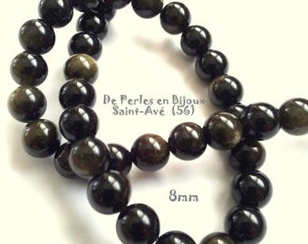 lot 10 pearls 8mm round Golden Obsidian