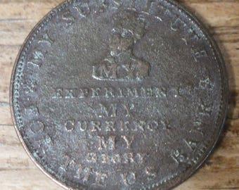 1834 Hard Times Token Andrew Jackson Running Boar Token