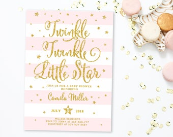 Twinkle Twinkle Little Star Baby Shower Invitation Girl, girl baby shower invite, Pink and gold baby shower, Pink Stripes, Gold stars