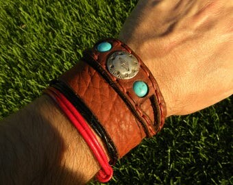 Cuff Bison leather  customize size cuff Bracelet Native Indian Navajo sterling silver turquoise  cowboy cowgirl  knot  black red