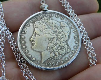 1890 authentic vintage silver US  Morgan one  dollar coin necklace pendant sterling silver chain 16 or 18 or 20 or 22 or 24 or 28 or 30 inch