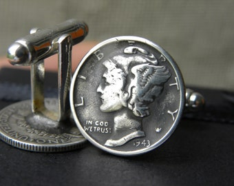 Cuff links  Authentic Silver Vintage Mercury dime coin various dates  soldered back life time guaranty handmade full date VF coins