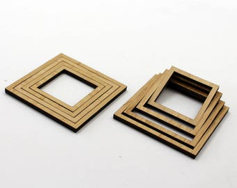 8 Concentric Square Wood Beads : Bamboo