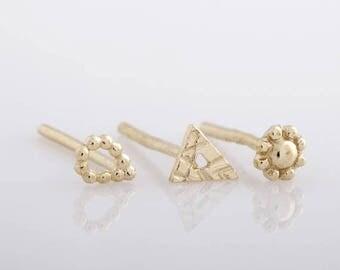 SALE15% Earring Set, Post Earrings, Tiny Earrings, Stud Earrings, Tiny Gold Earrings, Small Stud Earrings, 14k Gold Earrings, Stud Earring