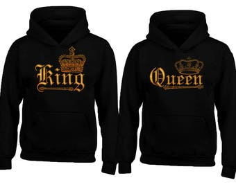 WILD King Queen GOLD Soul Mate Couple HOODIE sweaters Cartoon- Funny Couple Hoodies Couple Sweatshirts Matching Couple Hoodie Sweater