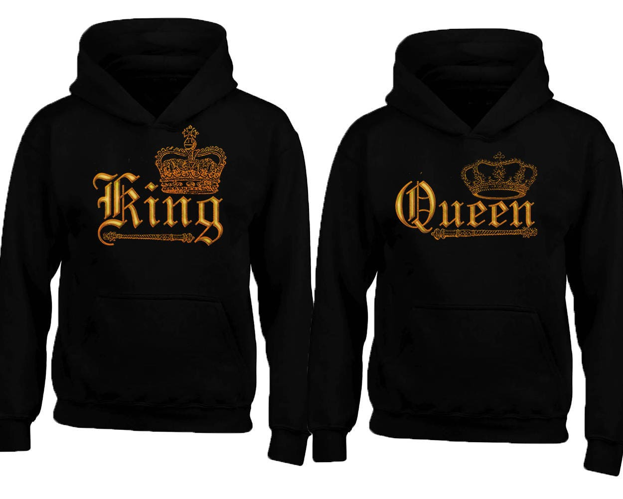 WILD King Queen GOLD Soul Mate Couple HOODIE sweaters Cartoon