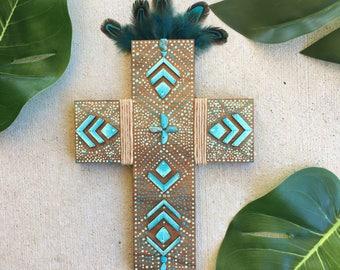 Boho Zylo Wooden Cross - Turquoise