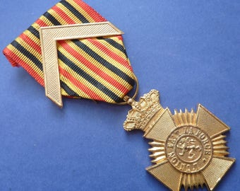 Belgium Army Long Service Medal With Chevron. (1st Class Award). Excellent Condition.