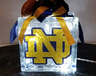 NOTRE DAME Lighted Glass Block Nightlight and Decor. College Sports Light.