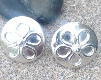 Large Solid Silver Daisy post earrings .