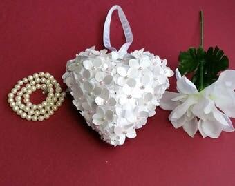 Paper hydrangea heart, flower girl kissing ball alternative, bridal accessories, wedding decor, church pew decor