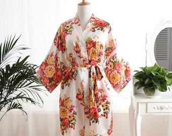 Bride's Robe - White Floral Robes, White Flower Robes, Satin Floral Robes, Satin Flower Robes, Bridesmaid Robe, wedding prep, kimono robe