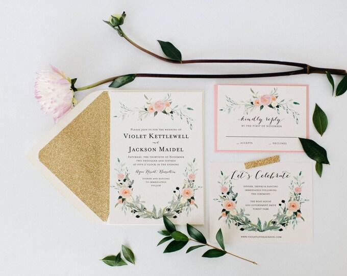 custom listing for suzie - violet wedding invitations