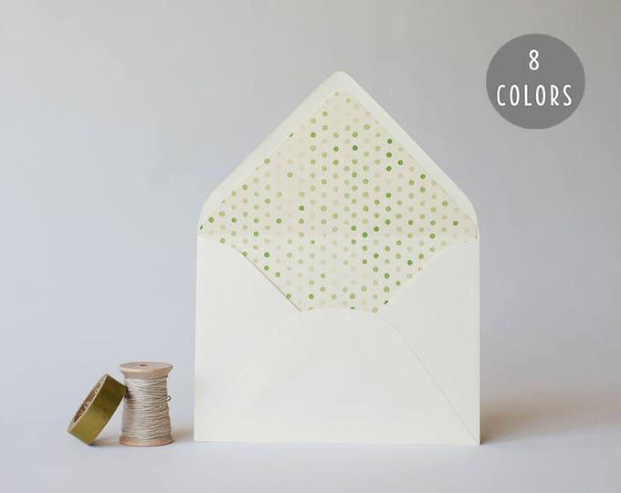 watercolor polka dot lined envelopes (8 color options) - sets of 10 // modern envelope liners wedding shower party invitation invite