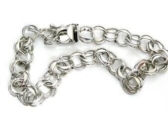 Vintage Double Link Sterling Silver Starter Charm Bracelet