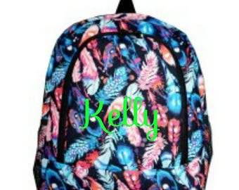 Feather Monogrammed Book Bag