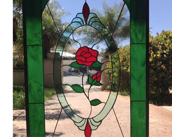 "The Magnificent ""Carson"" Stained & Beveled Glass Window Panel or Cabinet Insert (We do custom work)"