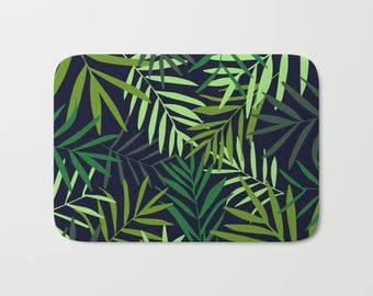 Palm Leaves Bath Mat, Tropical Bath Mat, Tropical Bathroom Decor, Green Tropical Leaves Shower Mat, Palm Leaves Shower Rug