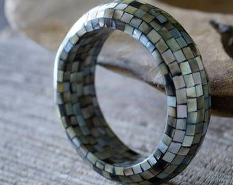 Ref: 177 Mother of pearl inlay cuff bracelet. 1970's