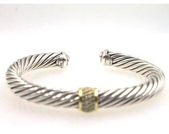 David Yurman 18 Karat Yellow Gold Sterling Silver Diamond 7mm Cable Cuff Bracelet