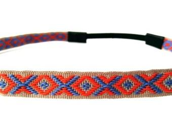 Hippie Headband, Boho Tribal Headband, Festival Headband, Boho Chic Headband, Aztec Pattern, Orange and Blue Accessories, Bohemian Headband