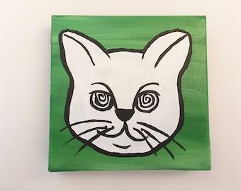 Hypno Cat Painting - Green