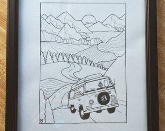 Adventure Bus; Framed Print