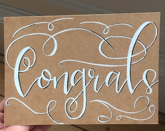 Say 'Congrats' with this hand drawn card - celebration - congratulations - engagement - wedding - new job - new parent - graduation - baby