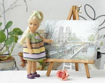 Hand knit striped dress American girl mini 6-inches doll Knitted dress AG Mini Doll clothes Mini American girl  doll clothing fashion doll