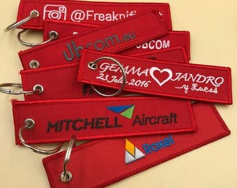 400 Double Sided Embroidered Keychain,remove before flight keychain, custom keychains, embroidered keychains, embroidered name keychain
