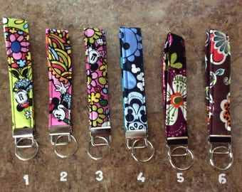 Key Fob Wristlet/Key Chain made w/Vera Bradley Fabric Hand-Crafted ~FREE SHIPPING~