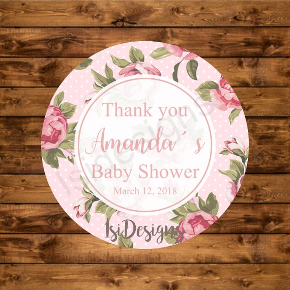 Baby Shower Stickers For Favors: Baby Shower Favor Tags, Printable Floral Baby Shower