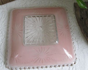 Art Deco Ceiling Light Fixture Pink Reverse Painted Circa 1930s Vintage Home Fixtures Pink Starburst and Candlewick Edged