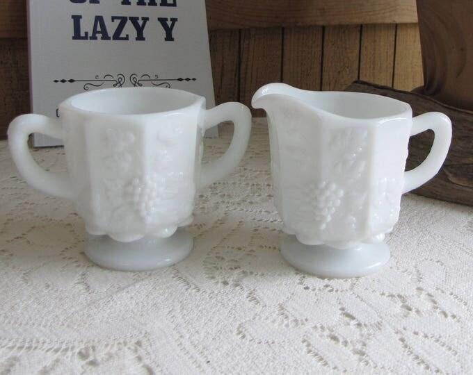 Westmoreland Milk Glass Paneled Grapes Cream and Sugar Bowl Vintage Dinnerware and Drinkware White Creamer and Handled Sugar Bowls