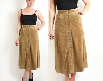 Vintage 70's 80's Camel Brown Suede Button Down High Waisted Maxi Skirt A-Line - Small to Medium