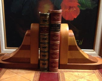 Wooden Bookends - Maple and Walnut - 1940's Book Holders - Shelf Display