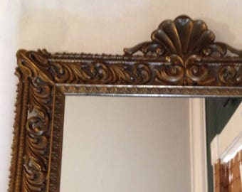 Italian Brass-framed Mirror - Fretted Frame - Shell Motif