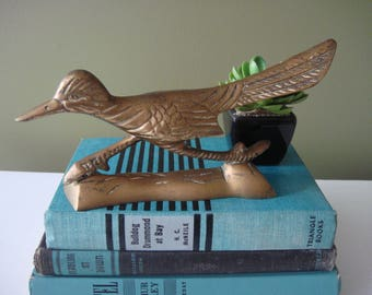Vintage Brass Roadrunner - Brass Bird Figure - Southwest Decor