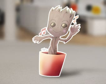 Baby Groot Sticker Cute Design from the Guardians of the Galaxy from the Marvel Universe. I Am Groot Dancing to Awesome Mixtape
