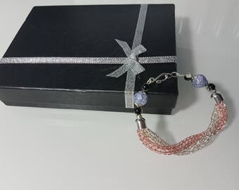 Twisted silver plated and rose gold plated bracelet