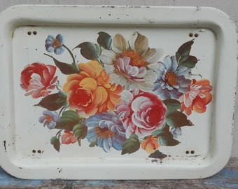 Cottage/Shabby Chic Vintage Metal Lap Tray!