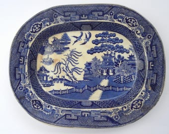 1800's Warranted Staffordshire/W Adams & Sons Blue Willow Serving Platter!