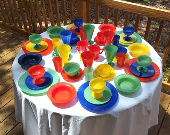 Hard to Find Service for 6 Mid-Century Fire King Rainbow China