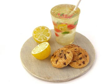 Dollhouse Miniatures lemonade in glass Ginger biscuits with chocolate chips on a tray polymer clay food for toy cookies pastry