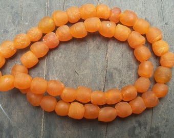 "African recycled glass beads, 8/9 mm.diam., 1 strand, 16"" (41 cm.), 50 beads, orange"