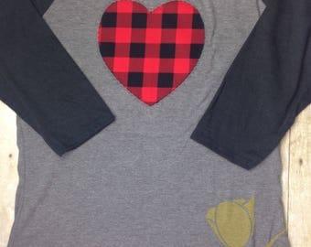 Valentine Heart Buffalo Plaid 3/4 Sleeve  Raglan Women's T-shirt